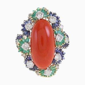 Italian Coral Multistone and Diamond Gold Ring