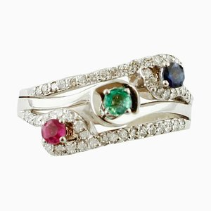 Smaragd, Blauer Saphir, Rubin & Diamant 18 Karat Gold Moderner Ring mit Drei Steinen