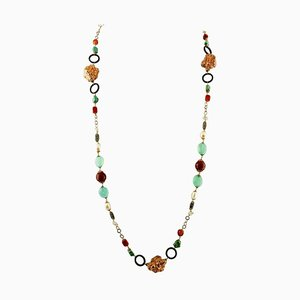 Turquoise, Jasper, Black Agate, Pearls, 9 Karat Rose Gold and Silver Necklace