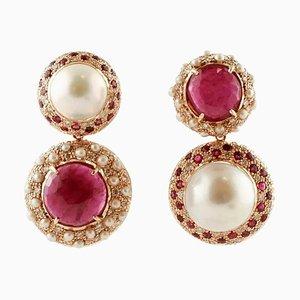 Hängeohrringe aus Südsee-Perlen, Rubinen, Diamanten und Roségold, 2er Set