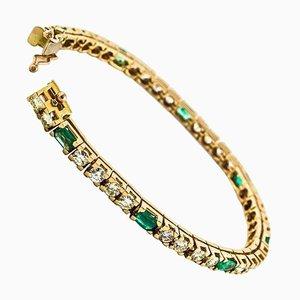 Diamond & Emerald Rose Gold Tennis Bracelet