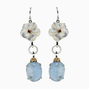 Luise Gold Diamond, Topaz, Mother-of-Pearl & Aquamarine Dangle Earrings