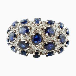 Diamant und Blauer Saphir Weißgold Bandring