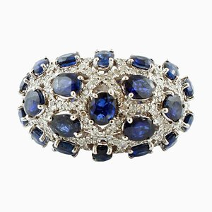 Diamond and Blue Sapphire White Gold Band Ring