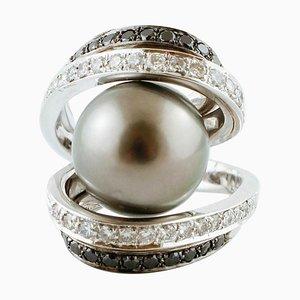 White & Black Diamond and Grey South Sea Pearl White Gold Ring