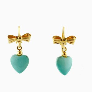 Earrings in 18K Yellow Gold With Turquoise Paste Hearts, Set of 2