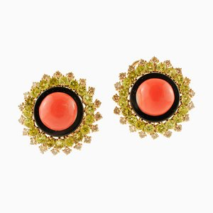 Coral, Diamonds, Onyx and Yellow Gold Earrings, Set of 2
