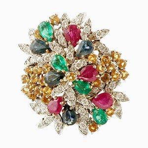 Ring aus Diamanten, Rubinen, Smaragden, Saphiren und Weißgold
