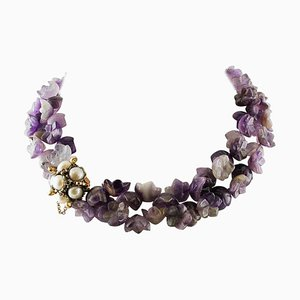 Amethyst Flower Double-Strand Necklace with Pearl, Ruby, Gold and Silver Clasp