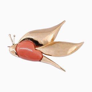 Broche ou pendentif en forme de libellule en or rose et corail