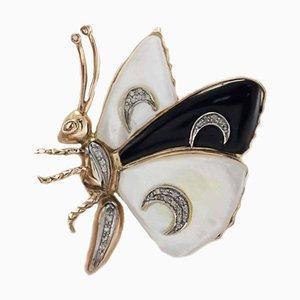 Schmetterlingsbrosche aus Perlmutt, schwarzem Achat & Diamantgold