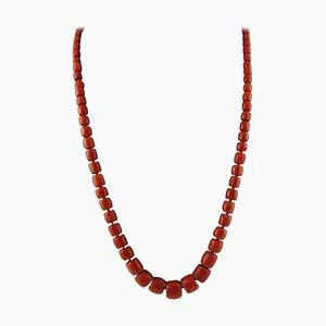 112.7 G Lange Rote Korallen Perlen Halskette