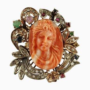 Ring aus Koralle, Diamant, Rubin, Smaragd und Blauem Saphir aus 9 Karat Gold und Silber