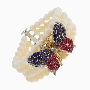 Korallenrotes Rubin Saphir Diamant Gold Schmetterling Goldarmband