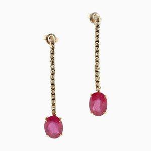 Ruby Diamond Gold Drop Earrings, Set of 2