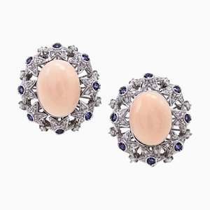 Oval Shape Pink Coral, Diamonds, Blue Sapphires and 18K White Gold Clip-on Earrings, Set of 2