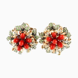 Green Tsavorites, Diamonds, Red Corals, Gold and Silver Flower Clip-on Earrings, Set of 2