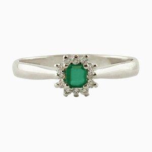 Emerald & Diamond 18 Karat White Gold Engagement Ring
