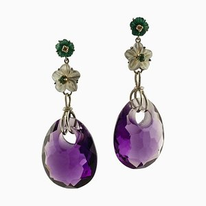 Amethysts, Mother of Pearl, Emeralds, Diamonds and White Gold Drop Earrings, Set of 2
