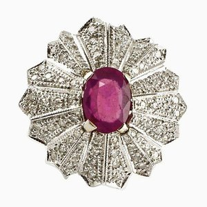 Diamond & Ruby Gold Dome Ring