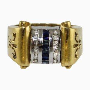 Diamond & Sapphire Yellow and White Gold Ring