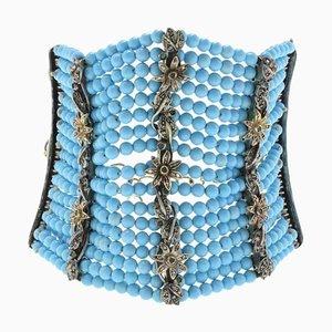 Bracciale turchese, diamante, smeraldo, oro e argento