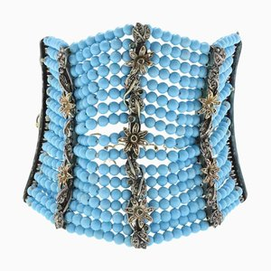 Bracelet Turquoise, Diamant, Émeraude, Or et Argent