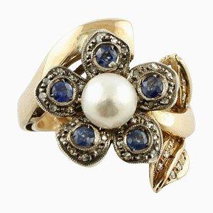 Saphir, Perle & Diamant Silber und Gold Daisy Ring