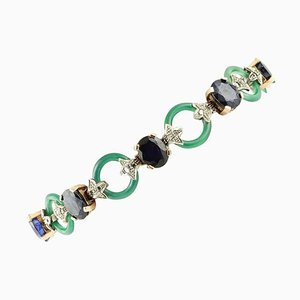 Diamond, Blue Sapphire, Green Agate, Rose Gold and Silver Link Bracelet