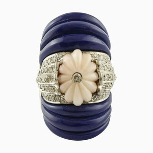 Diamond, Pink Coral, & Lapis Rose and Gold Fashion Ring
