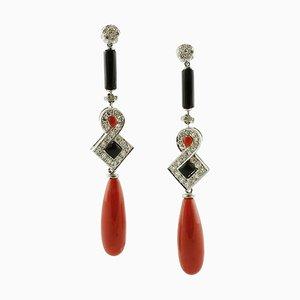 Hängeohrringe aus Diamanten, Roten Korallen, Onyx und 14 Karat Weißgold, 2er Set