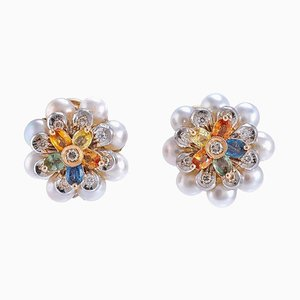 Diamonds, Pearls, Sapphires, Yellow and White Gold Earrings, Set of 2