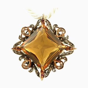 Diamonds, Ruby, Hard Stone 9 Karat Rose Gold and Silver Pendant