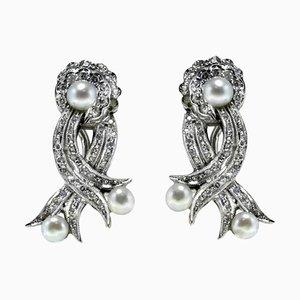 Pearl Diamond White Gold Earrings, Set of 2