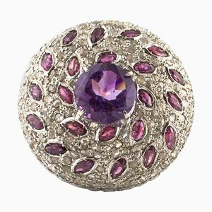 Ruby, Amethyst & Diamond Rose Gold and Silver Round Ring