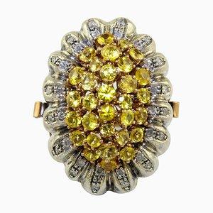 Gelber Saphir, Diamant, Roségold und Silber Cocktailring
