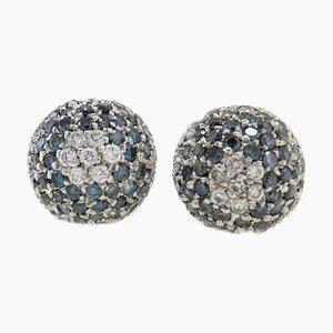 Little Dome Diamond and 18 Karat White Diamond Earrings, Set of 2