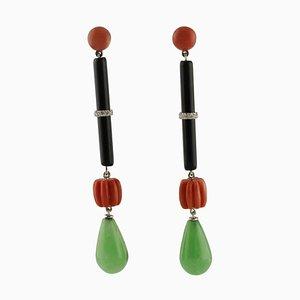 Hängende Ohrringe aus Onyx, Grüner Jade, Diamanten, Roter Koralle und 14 Karat Weißgold, 2er Set