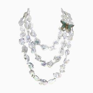 Emerald, Topaz, Garnet & Pearl Silver Gold Necklace