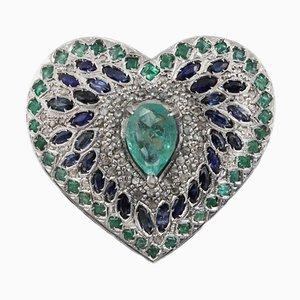 Luise Blauer Saphir, Smaragd und Diamant Herz Ring