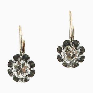 Ohrringe mit Weißen Diamanten, Roségold und Silber, 2er Set