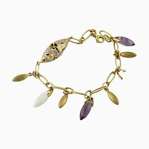Amethyst Stones and Yellow Gold Bracelet