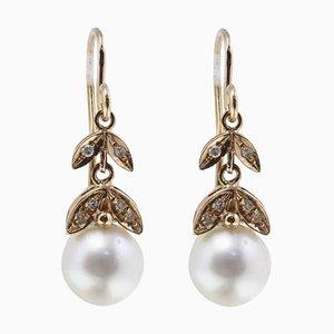0,17 Ct Diamanten und 3,30 G Australische Perlen Roségold Level-Back Ohrringe, 2er Set