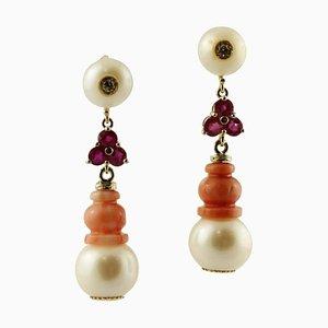 Hängende Diamanten, Rubine, Rote Korallen, Perlen und Weißgold Ohrringe, 2er Set