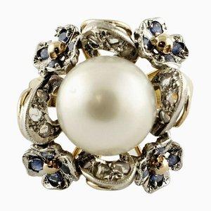 Diamant, Blauer Saphir & Weiße Australische Perle Gold und Silber Cluster-Ring
