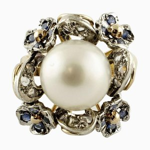 Diamond, Blue Sapphire & White Australian Pearl Gold and Silver Cluster Ring