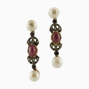 Ohrringe mit Perlen, Rubinen, Diamanten, Roségold und Silber, 2er Set