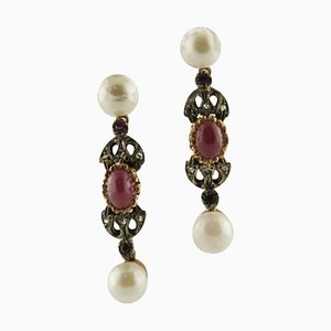 Pearls, Rubies, Diamonds, Rose Gold and Silver Earrings, Set of 2