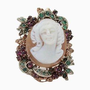 Kamee, Granat, Smaragd & Diamant Silber und Gold Cluster Ring