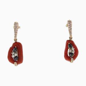 Hängende Diamanten, Blaue Saphire, Smaragde, Rote Korallen und Roségold Ohrringe, 2er Set